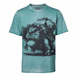 b63da70ec POKEMON Men's Venusaur Oil Washed T-Shirt, Medium, Turquoise (TS576024POK-M)